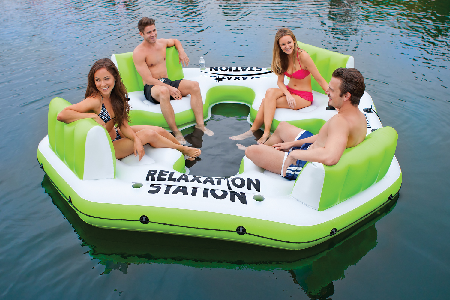 Intex Relaxation Station 4-Person Water Lounge Raft - Green | 58296EP