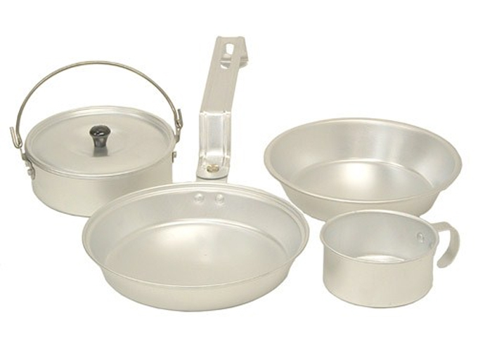 Coleman Aluminum Mess Kit Cookware Set - Cup, Pan, Pot, & Plate