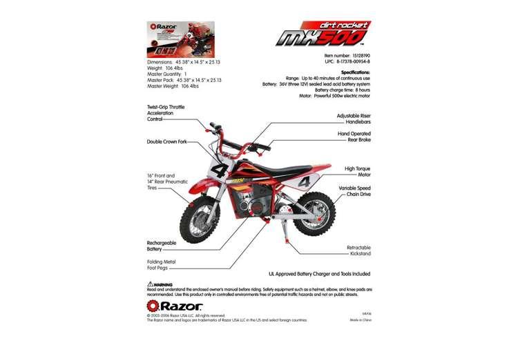 razor mx500 dirt rocket dirt bike