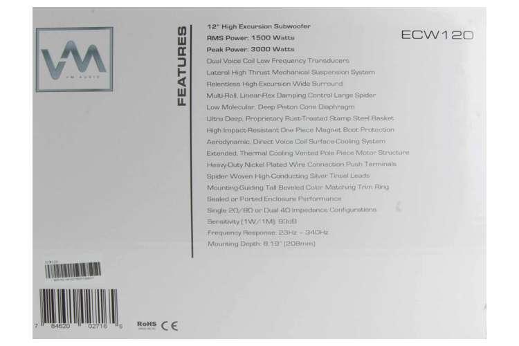 VM-ECW120�VM Audio Encore 12-Inch High Excursion Subwoofer | ECW120
